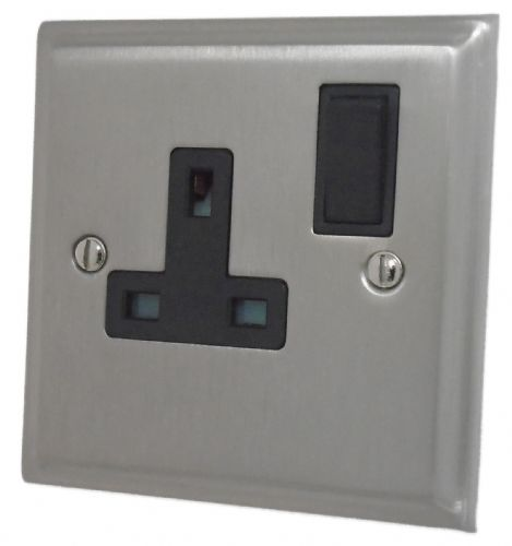 G&H DSN9B Deco Plate Satin Nickel 1 Gang Single 13A Switched Plug Socket